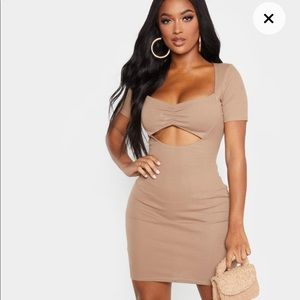 PLT shape mocha ribbed twist dress